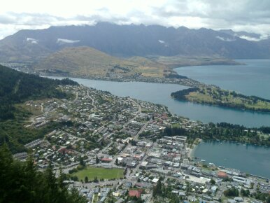 view from the top of the gondola (cable car) across queenstown