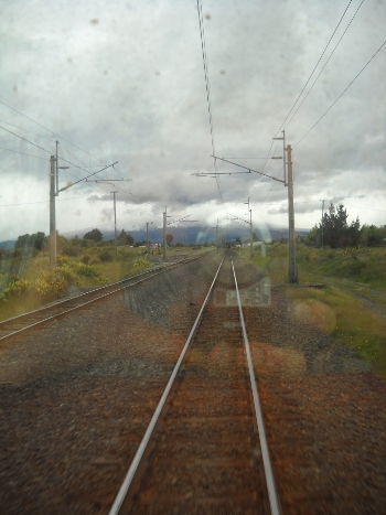 view from the back of the auckland to wellington traNZ train